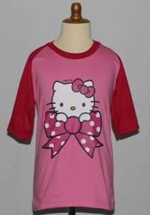 Kaos Raglan Hello Kitty