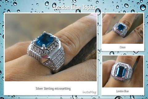 Natural London Blue Topaz in silver sterling ring