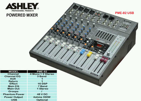 Jual Power Mixer ASHLEY PME-82 USB, New, Bergaransi .