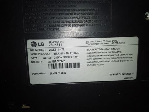 Jual TV LCD LG 26 Inch - Mulus, USB Movie, Music, Photo