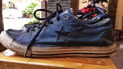 Converse One Star Gray-Black Eyelets Customized Edition