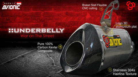 ▒▒▓█▀ UNDERBELLY - Avionic Exhaust ▀█▓ Original Racing knalpot Yamaha R25 / MT25