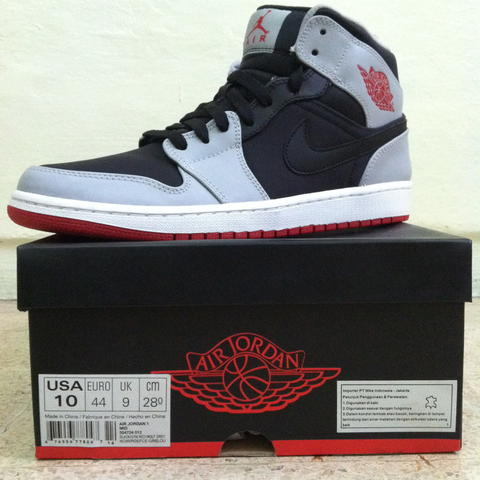 AIR JORDAN 1 MID // BLACK GYM RED WOLF GREY BNIB