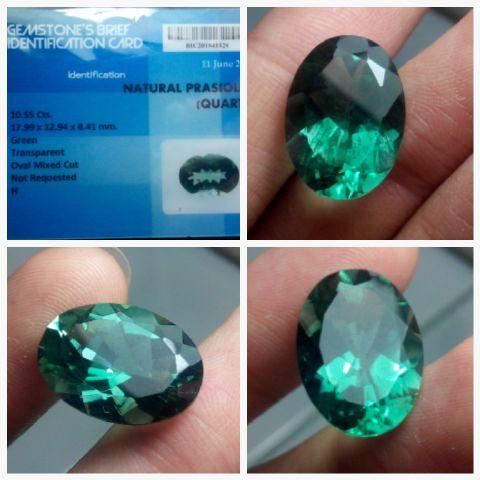 Natural Green Quartz / Prasiolite 10,95 cts Big Size + memo