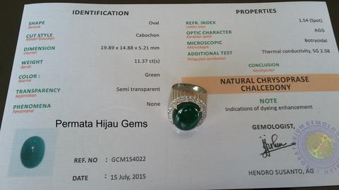 Natural Chrysoprase Chalcedony ( Ijo Garut ASLI ) ; Ring Perak 925(Import) + G-Lab