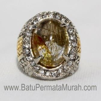 Batu Permata Cendana Serat Emas, Natural Rutilated Quartz + MEMO