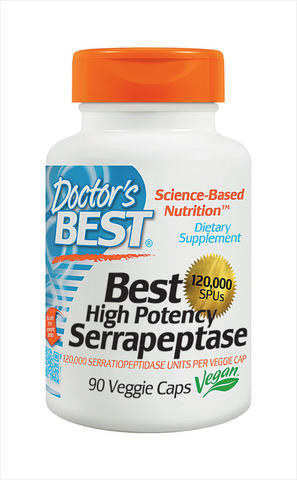 Doctor's Best High Potency Serrapeptase -- 120000 SPU - 90 Veggie Caps