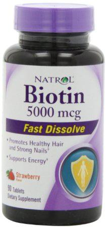 Natrol Biotin 5000 mcg Fast Dissolve Tablets, Strawberry, 90-Count