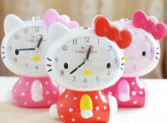 Jam Weker Hello Kitty Full Body Nyala+Alarm