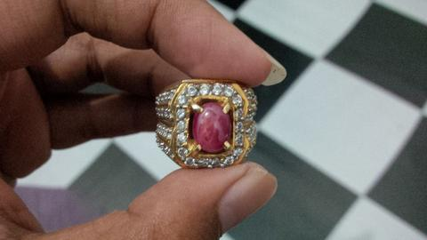 Red Ruby star ring silver mewah
