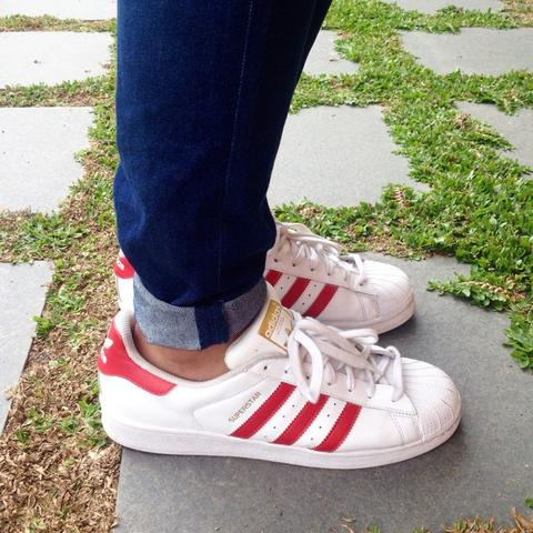 Adidas Superstar White - Scarlet ( Most iconic sneaker all the time )
