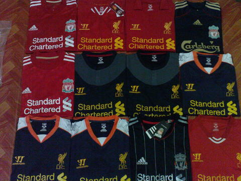 Jersey liverpool away phantom 09/10, home 10/12, home and 3rd 12/13, home 13/14