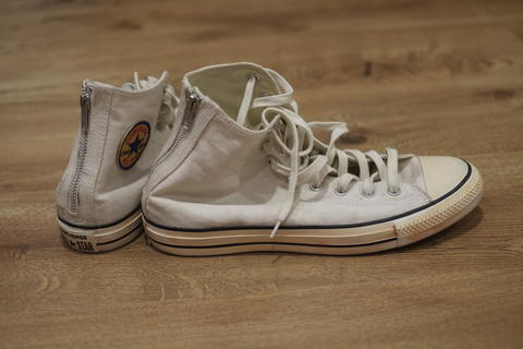 converse rubber gum white & converse back zip