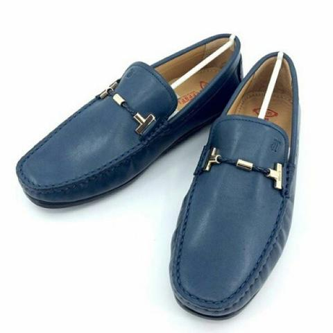 JUAL SEPATU TODS FERRARI BIRU BUCKLE GOLD LEATHER MIRROR QUALITY|SMS: 0812 1737 9888