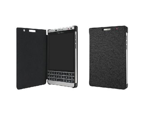 [ZENAUDIO] Blackberry Leather Flip Case & Flex Shell Passport Dallas Silver Original