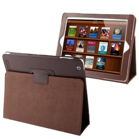 High Quality Litchi Leather Case with Sleep Function for iPad - Brown