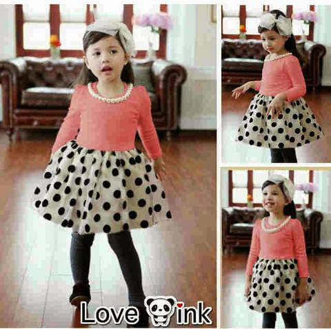 Dress LP Pink With Pearl Necklace Kid Rp60.000