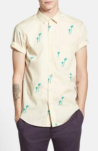 Kemeja Topman Short Sleeve Palm Tree Print Shirt
