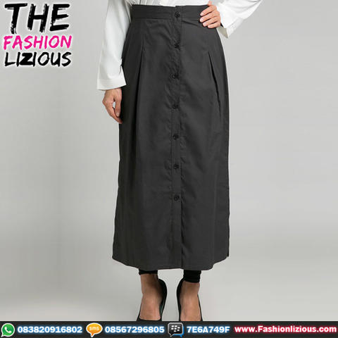 Rok Wanita Fashionable - Dark Grey Center Buttoned Long Skirt