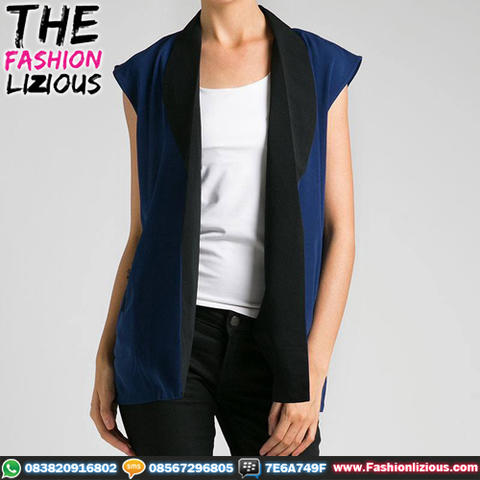 Outwear Wanita Fashionable - Sleeveless Navy Black Vest
