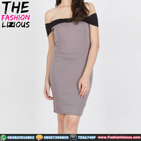 Dress Wanita Fashionable - Carol Grey Upper Black Dress