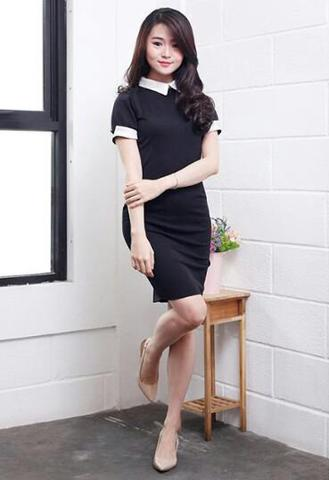 Black Collar Dress (Kualitas Premium)