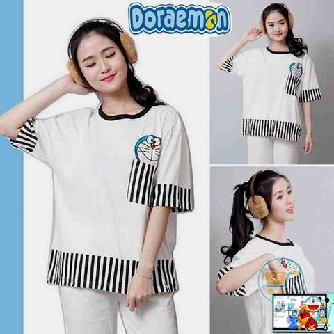 Tee Bigsize Doraemon Head Pocket