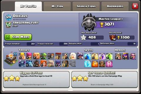 jual ID CLASH OF CLANS / COC TH 11 (TOWNHALL 11) BUTUH UANG Pensi main