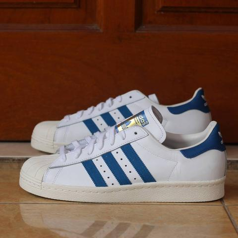 ADIDAS SUPERSTAR VINTAGE 80S DELUXE WHITE BLUE (Original No Box)