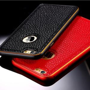 Fashional Leather and metalic Cover Case For iPhone 6 - BLACK-RED