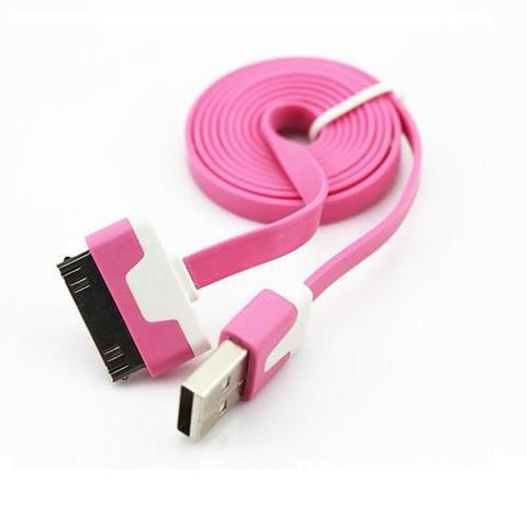 Newtech Flat Noodle Charging SYNC Data Cable for iPhone 4/4s 1m - Pink