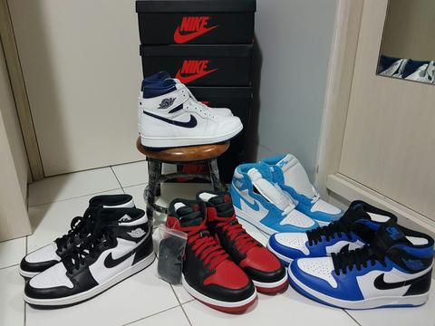 the latest f5c69 a50d4 WTS Air Jordan 1 BNIB (BW, UNC, White Navy, AJ1.5 Bred dan AJ1.5 Soar)
