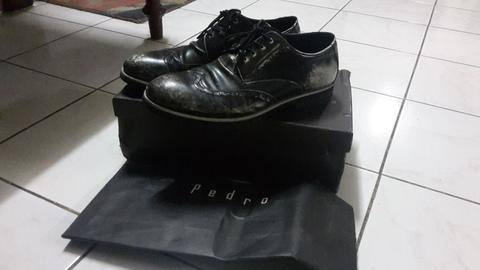 Pedro Pantofel Black Leather Vintage Look size 42