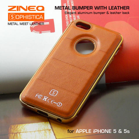Apple iPhone 5 5s Hybrid Metal Aluminium Bumper & Leather Back Case