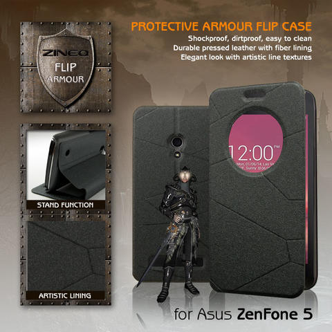 Asus Zenfone 5 ZINEQ Window Leather Flip Case Flipcase Cover Flipcover