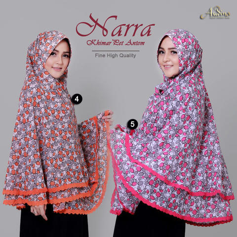 Khimar Pet Antem Narra Orange dan Pink