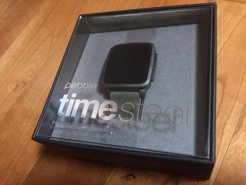 Pebble Time Steel Black Leather and Metal Strap included BNIB Kickstarter Edition