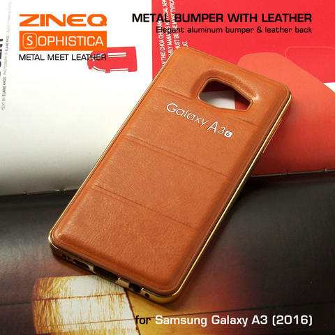 Samsung Galaxy A3 2016 Hybrid Metal Bumper & Leather Back Hard Case