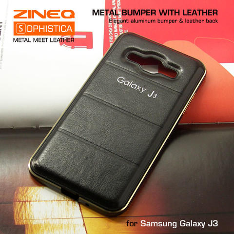 Samsung Galaxy J3 Hybrid Metal Bumper & Leather Back Hard Case