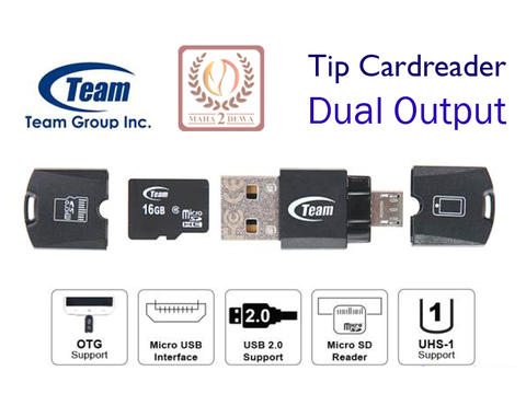 Micro USB On The Go (OTG) Tip Cardreader Dual Ouput Brand TEAM