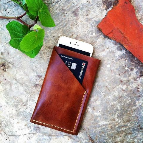 Pouch 100% kulit sapi lipat for iphone 6/6s color classic brown