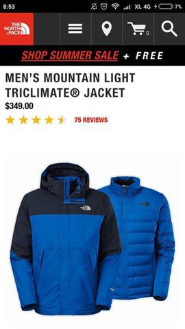 THE NORTH FACE MENS MOUNTAIN LIGHT TRICLIMATE NOT SALOMON, BERGHAUS, ARCTERYX