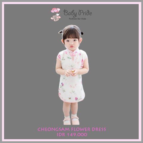 Baju dress anak / bayi / balita - CHEONGSAM FLOWER DRESS