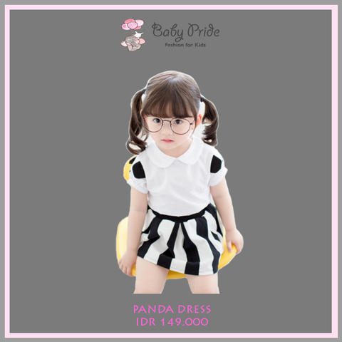 Baju dress anak / bayi / balita - Panda Dress