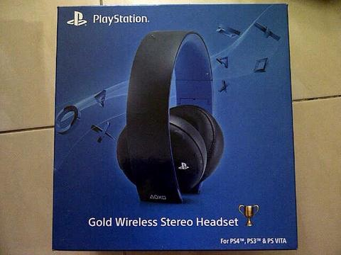 [ITECH - IPHUNKZ] SONY GOLD WIRELESS STEREO HEADSET FOR PC , PS 4 , PS 3 , PS VITA
