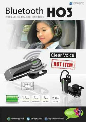 HANDSFREE/HEADSET BLUETOOTH STEREO ORIGINAL HIPPO SUARA JERNIH DAN HIGH DEFINITION