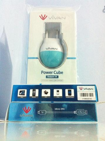 USB CAR CHARGER VIVAN, KABEL DATA & FAST CHARGING 2.1A MICRO USB/IPHONE 5/6 & CHARGER