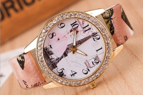 Jam Tangan Korea Fashion LADY Flower Strap Kulit Cewe Analog Model