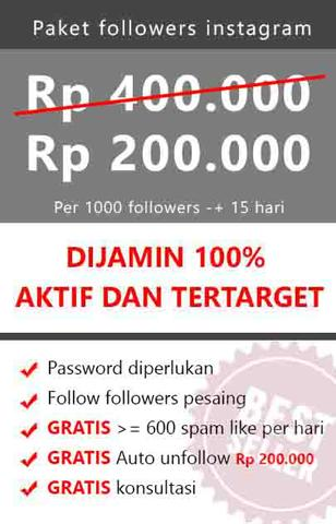 [TRUSTED SERVICE] Jual followers instagram AKTIF, TERTARGET dan TERMURAH.