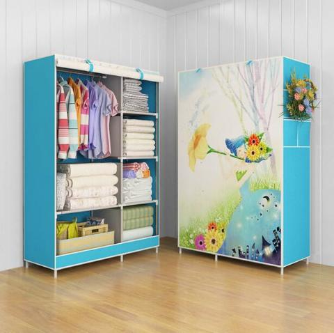 03 Flower Multifunction Wardrobe Cloth Rack with cover lemari pakaia
